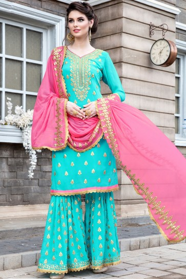 Embroidered Sky Blue Georgette Sharara Plazo Salwar Suit With Nazmin Dupatta
