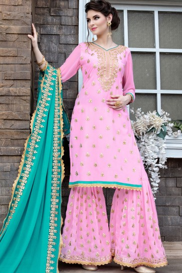 Lovely Pink Georgette Embroidered Sharara Plazo Salwar Suit With Nazmin Dupatta