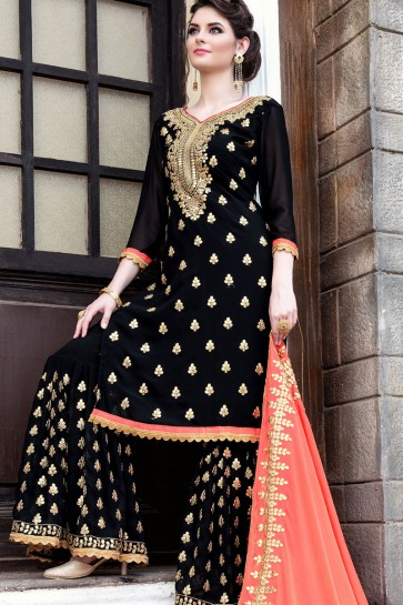 Pretty Black Georgette Embroidered Sharara Plazo Salwar Suit With Nazmin Dupatta
