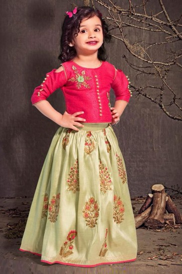 Supreme Magenta and Green Silk Embroidered Lehenga Choli