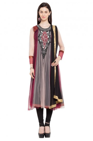 Stylish Maroon Faux Georgette Plus Size Readymade Salwar Suit With Chiffon Dupatta
