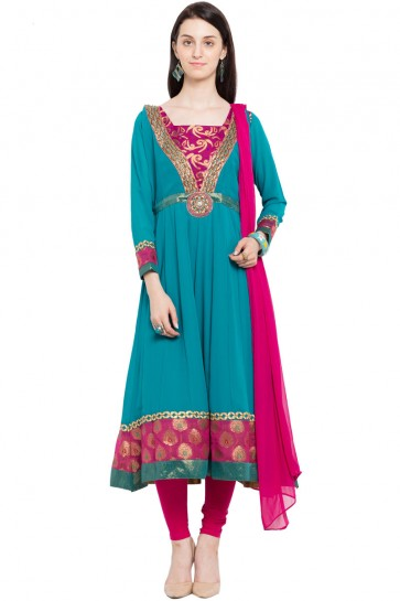 Admirable Teal Faux Georgette Plus Size Readymade Salwar Suit With Chiffon Dupatta