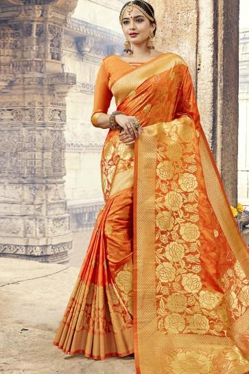 Orange Designer Jacquard Work Silk Saree With Blouse