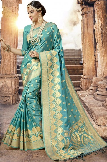 Beautiful Turquoise Designer Jacquard Work Silk Saree With Blouse
