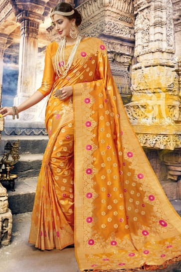Mustard Jacquard Work Designer Silk Saree With Blouse