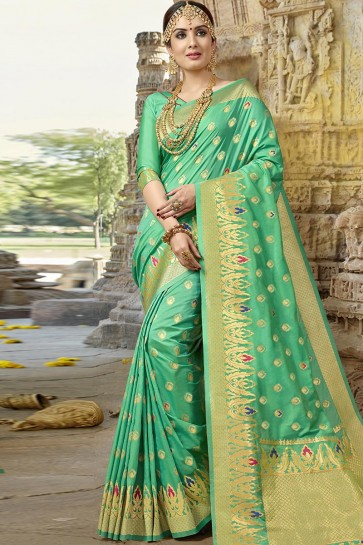 Turquoise Designer Jacquard Work Silk Saree With Blouse
