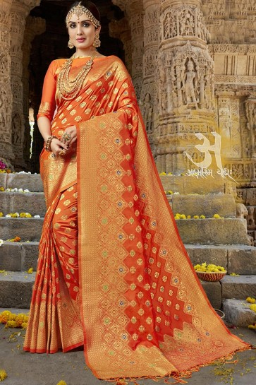 Supreme Orange Jacquard Work Designer Silk Saree With Blouse