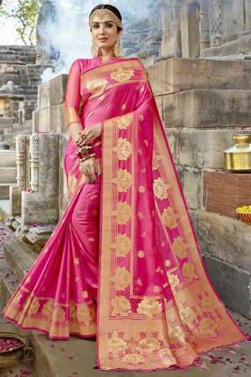 Gorgeous Pink Jacquard Work Designer Silk Saree With Blouse