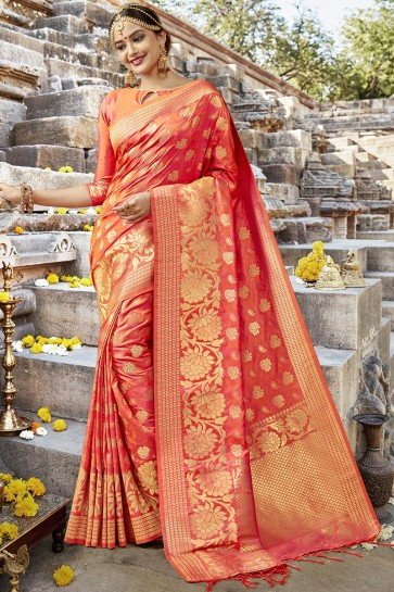 Ultimate Orange Designer Jacquard Work Silk Saree With Blouse