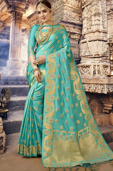 Marvelous Turquoise Jacquard Work Designer Silk Saree With Blouse