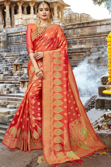 Admirable Orange Designer Jacquard Work Silk Saree With Blouse