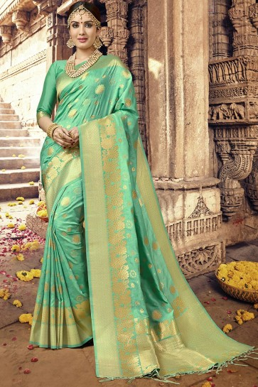 Desirable Turquoise Designer Jacquard Work Silk Saree With Blouse