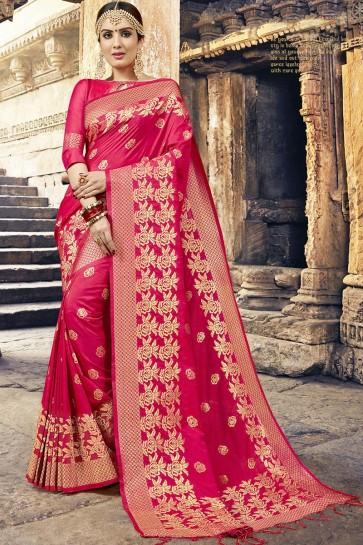 Classic Pink Jacquard Work Designer Silk Saree With Blouse