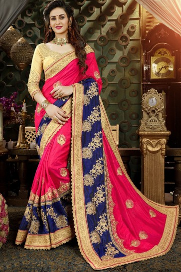 Appealing Georgette Blue And Pink Embroidered Saree With Banglori Silk Blouse