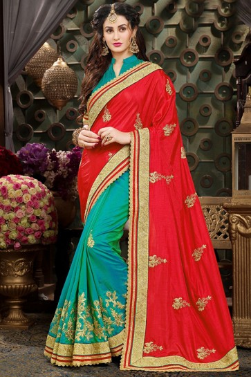 Ultimate Red And Sea Green Georgette Embroidery Work Saree And Blouse