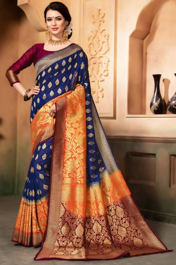 Optimum Blue and Orange Silk Jacquard Work Designer Saree With Silk Blouse