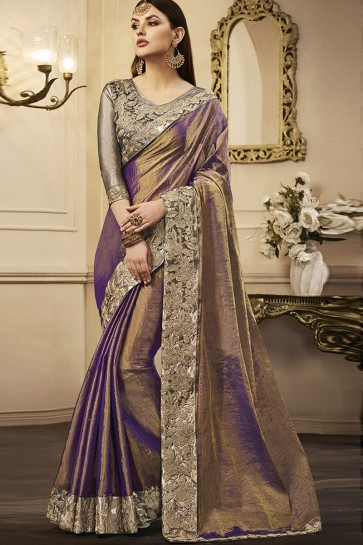 Purple Silk Embroidered Party Wear Saree With Silk Blouse