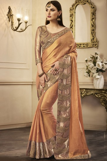 Excellent Orange Silk Embroidered Party Wear Saree With Silk Blouse