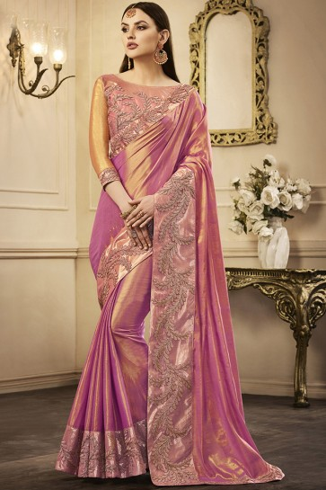 Gorgeous Pink Silk Embroidered Party Wear Saree With Silk Blouse