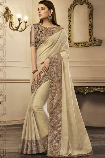 Cream Silk Embroidered Party Wear Saree With Silk Blouse