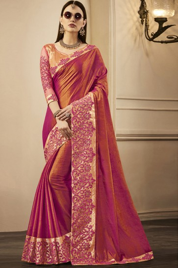 Pink Silk Embroidered Party Wear Saree With Silk Blouse