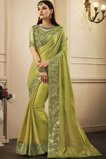Beautiful Green Silk Embroidered Party Wear Saree With Silk Blouse