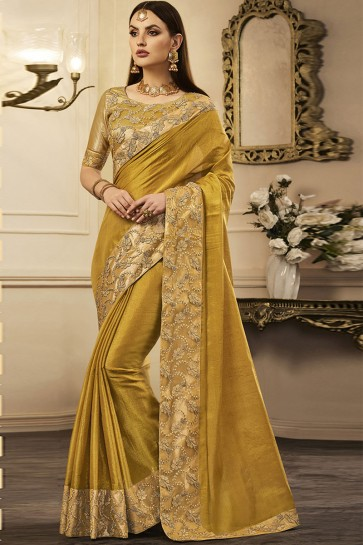 Classic Yellow Silk Embroidered Party Wear Saree With Silk Blouse