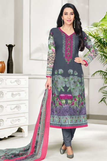 Karisma Kapoor Desirable Grey Cotton Casual Printed Salwar Suit With Nazmin Dupatta