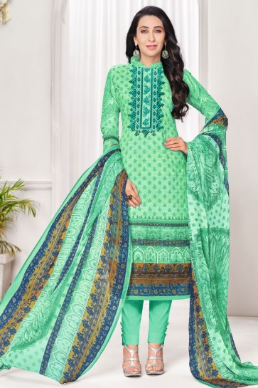 Karisma Kapoor Sea Green Cotton Casual Printed Salwar Suit