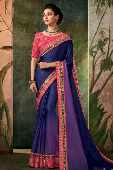 Beautiful Blue Embroidered Designer Silk Saree With Silk Blouse