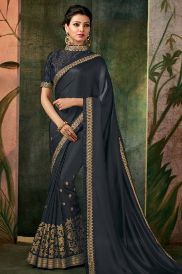 Black Embroidered Designer Silk Saree With Silk Blouse