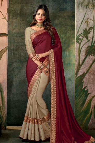 Maroon and Beige Designer Embroidered Silk Saree With Silk Blouse