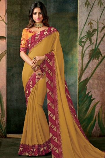 Desirable Yellow Designer Embroidered Silk Saree With Silk Blouse