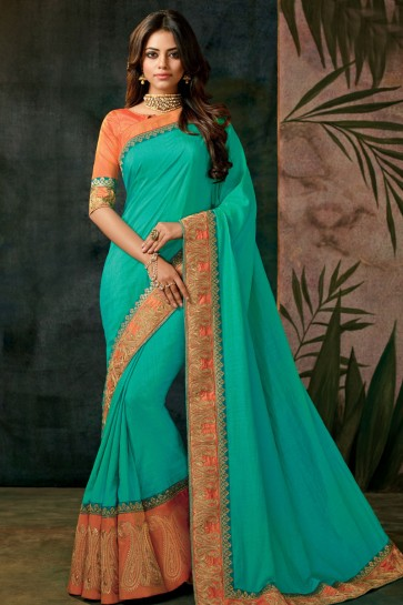Ultimate Green Embroidered Designer Silk Saree With Silk Blouse