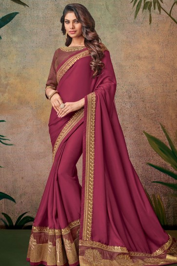 Pretty Maroon Embroidered Designer Silk Saree With Silk Blouse