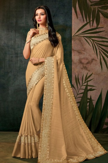 Embroidered Cream Designer Silk Saree With Silk Blouse