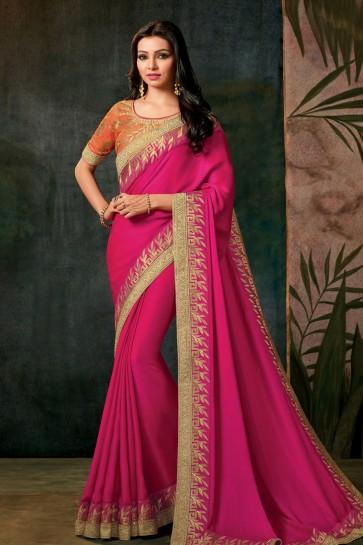 Supreme Pink Designer Embroidered Silk Saree With Silk Blouse