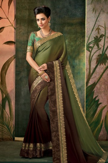 Lovely Green Embroidered Designer Silk Saree With Silk Blouse