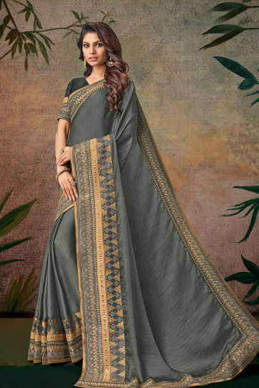 Grey Embroidered Designer Silk Saree With Silk Blouse