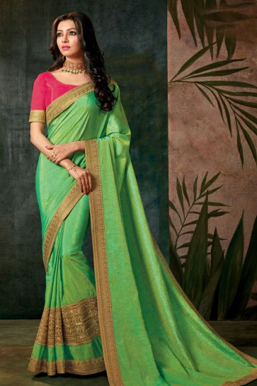 Excellent Green Designer Embroidered Silk Saree With Silk Blouse