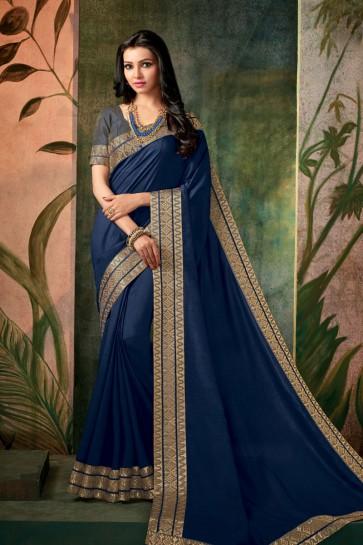 Navy Blue Designer Embroidered Silk Saree With Silk Blouse