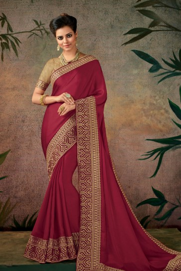 Charming Red Embroidered Designer Silk Saree With Silk Blouse