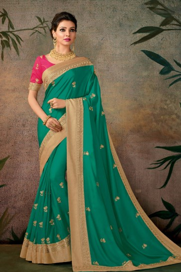 Pretty Green Embroidered Designer Silk Saree With Silk Blouse