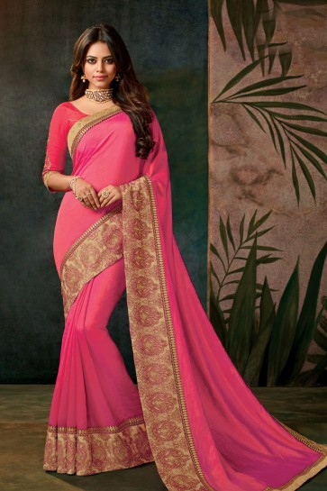 Classic Pink Embroidered Designer Silk Saree With Silk Blouse