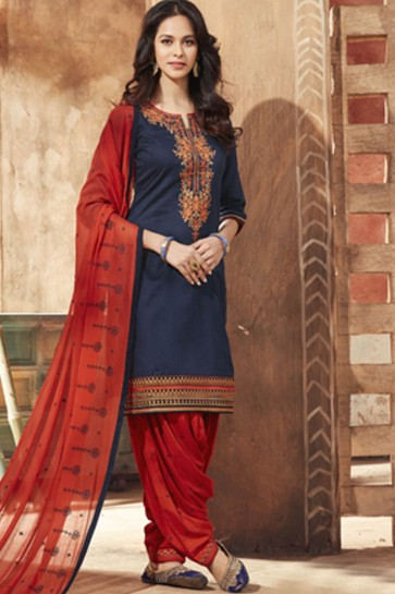 Lovely Blue Cotton Satin Embroidered Patiala Slawar Suit With Nazmin Dupatta