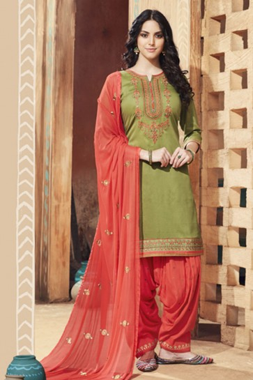 Pretty Green Cotton Satin Embroidered Patiala Salwar Suit With Nazmin Dupatta