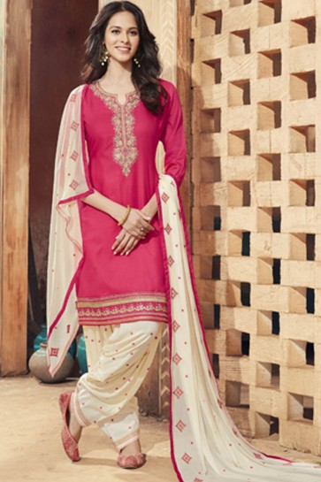 Embroidered Pink Cotton Satin Patiala Designer Salwar Suit With Nazmin Dupatta