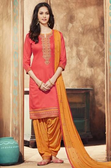 Optimum Pink Cotton Satin Embroidered Patiala Salwar Suit With Nazmin Dupatta
