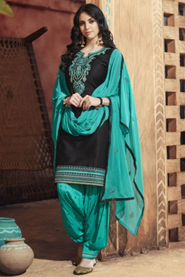 Black Cotton Satin Embroidered Patiala Designer Suit With Nazmin Dupatta