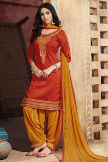 Ultimate Orange Cotton Satin Embroidered Patiala Designer Salwar Suit With Nazmin Dupatta